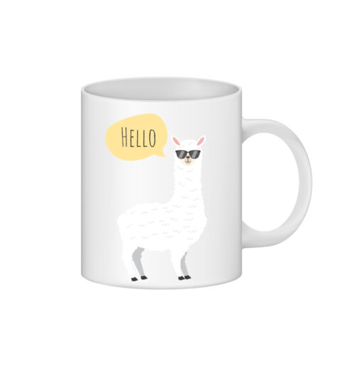 cana alba personalizata alpaca hello - personalizari ploiesti